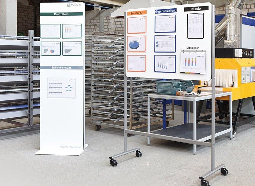 Verschiedene Tafeln von WEIGANG in einer Produktion.